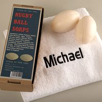 Rugby Soaps With Personalised Hand Towel - Rugby Gifts