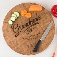 Personalised Large Round Bamboo Chopping Board - Grandma's Kitchen