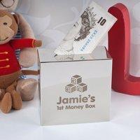 Personalised Silver Money Box - First Money Box - Money Box Gifts