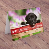Personalised Card - Puppy With Flowers - Puppy Gifts