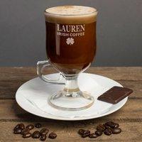 Personalised Irish Coffee Glass With Baileys Miniature - Shamrock Motif - Baileys Gifts
