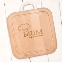 Engraved Wooden Chopping Board With Rope Handle - Mum Chef Hat - Chef Gifts