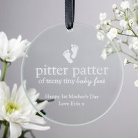 Personalised Round Hanging Glass Token - Pitter Patter
