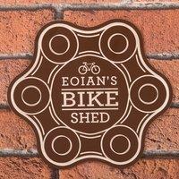 Personalised Brown Sign - Bike Shed - Bike Gifts