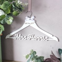 Personalised White Wedding Dress Hanger - Wedding Dress Gifts