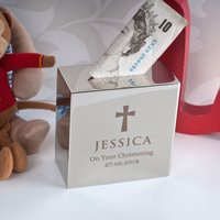 Personalised Silver Money Box - Christening