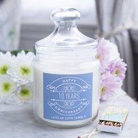 Personalised Deluxe Jar Candle - 10th Anniversary - Candle Gifts