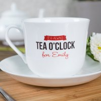 Personalised Tea Cup & Saucer - Tea O'Clock - Cup Gifts