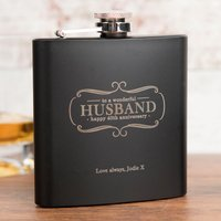 Personalised Matte Black Hip Flask Gift Set - Husband, 40th Anniversary - 40th Gifts