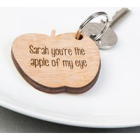 Personalised Wooden Key Ring - Apple - Key Ring Gifts