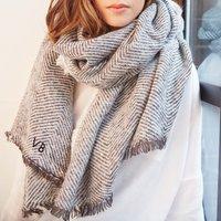 Personalised Lisa Angel Grey Herringbone Weave Wrap Scarf - Angel Gifts