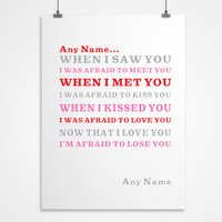 Personalised Pink Love Poem Print - Decorations Gifts