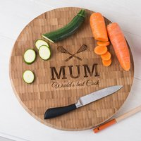 Personalised Large Round Bamboo Chopping Board - Mum - Chopping Board Gifts