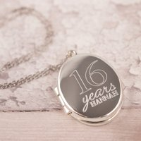 Engraved Oval-Shaped Locket Necklace - 16 Years