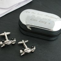 3D Cufflinks in Personalised Box - Formula One - Formula 1 Gifts