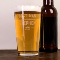 Personalised Pint Glass - Best Man Moustache - Best Man Gifts