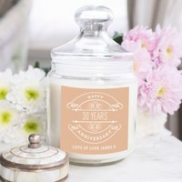 Personalised Deluxe Jar Candle - 30th Anniversary - 30th Gifts