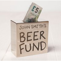 Personalised Silver Square Money Box - Beer Fund - Beer Gifts
