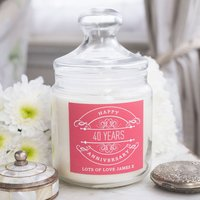 Personalised Deluxe Jar Candle - 40th Anniversary - 40th Gifts