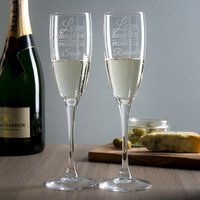 Personalised Set Of 2 Champagne Flutes - Love, Laughter & Prosecco - Laughter Gifts