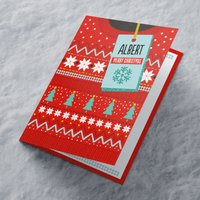 'Personalised Christmas Card - Red Christmas Jumper