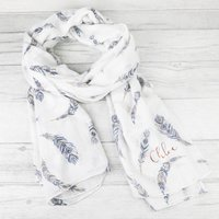 Personalised Lisa Angel White Boho Gold Foil Feather Scarf - Angel Gifts