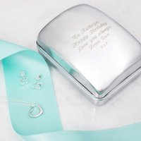 Engraved Jewellery Box With Sterling Silver Heart Necklace & Earrings - Jewellery Box Gifts