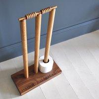 Personalised Cricket Wicket Oak Loo Roll Holder - Cricket Gifts