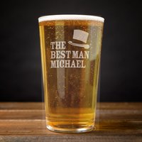 Image of Personalised Pint Glass - Best Man Top Hat