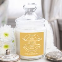Personalised Deluxe Jar Candle - 50th Anniversary - Candle Gifts