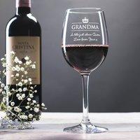Personalised Wine Glass - Grandma Crown - Grandma Gifts