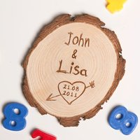Personalised Wedding Anniversary Tree Carving Wooden Fridge Magnet - Wedding Anniversary Gifts