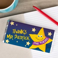 Personalised Chocolate Bar - Thanks Star Teacher - Teacher Gifts