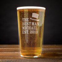 Personalised Pint Glass - Best Man Name & Date - Best Man Gifts
