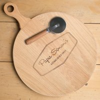 Personalised Pizza Board With Cutter - Established - Pizza Gifts