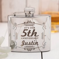 Engraved Stainless Steel Hip Flask - 5th Anniversary - Hip Flask Gifts