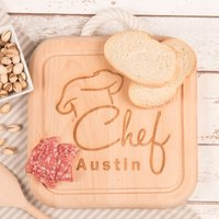 Engraved Wooden Square Board With Rope Handle - Chef - Chef Gifts
