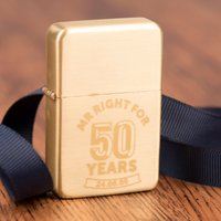 Engraved Gold Lighter - Mr Right For 50 Years - Lighter Gifts