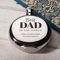 Engraved Round Hip Flask - Best Dad - Hip Flask Gifts