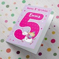 Personalised Card - 5th Birthday Unicorn - 5th Birthday Gifts