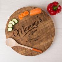 Personalised Large Round Bamboo Chopping Board - Mummy's Kitchen - Chopping Board Gifts