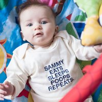 Personalised Organic Beige Long Sleeve Baby Grow - Eats, Sleeps, Poops, Repeats - Babygrow Gifts