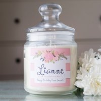 Personalised Deluxe Jar Candle - Pink Flowers - Candle Gifts