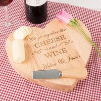 Personalised Heart-Shaped Wooden Cheeseboard Set - Go Together Like Cheese & Wine - Cheese Gifts