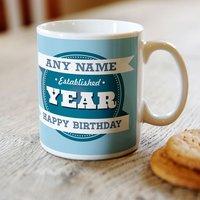 Personalised Mug - Birthday Established, For Him - 18th Birthday Gifts