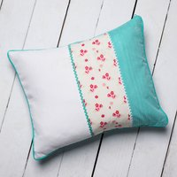 Personalised Turquoise Ditsy Patchwork Cushion - Turquoise Gifts