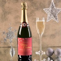 Luxury Personalised Champagne - Merry Christmas, Red