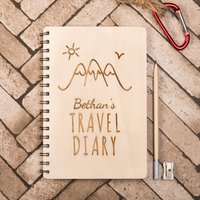 Personalised Wooden Notebook - Travel Diary - Diary Gifts
