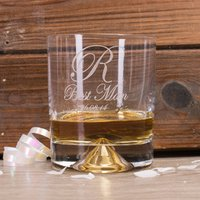 Personalised Stern Whisky Glass - Best Man Initial & Date - Best Man Gifts