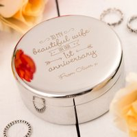 Engraved Circular Trinket Box - To My Beautiful Wife, 1st Anniversary - Beautiful Gifts